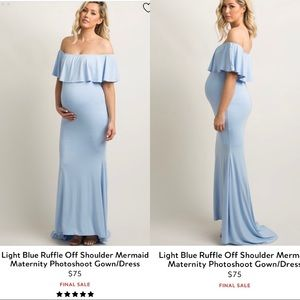 Pinkblush blue mermaid maternity photography gown